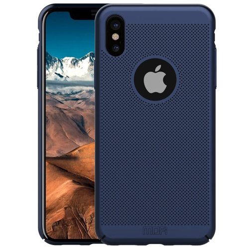 MOFI Honeycomb Texture Breathable Protective Back Cover Case for iPhone XS (Blue)