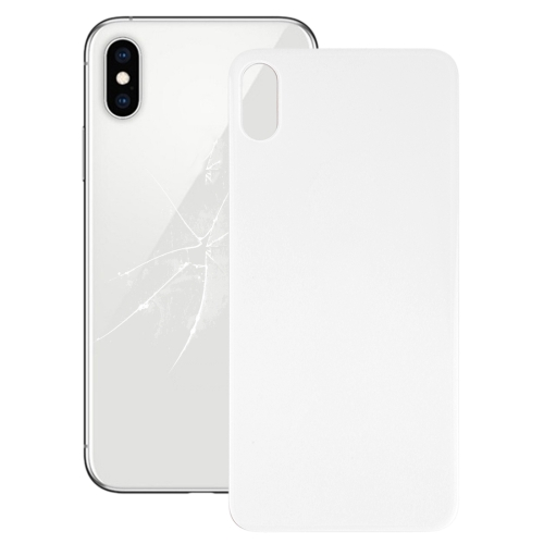 Easy Replacement Big Camera Hole Glass Back Battery Cover with Adhesive for iPhone XS(White)