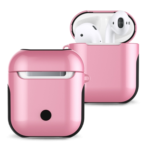 Varnished PC Bluetooth Earphones Case Anti-lost Storage Bag for Apple AirPods 1/2(Pink)