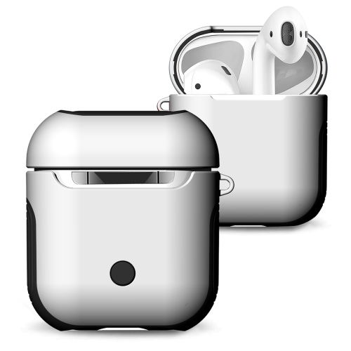 Frosted Rubber Paint + PC Bluetooth Earphones Case Anti-lost Storage Bag for Apple AirPods 1/2(White)