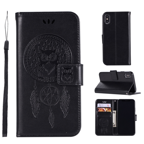 Wind Chime Owl Embossing Pattern Horizontal Flip Leather Case for iPhone XS / X, with Holder & Card Slots & Wallet (Black)