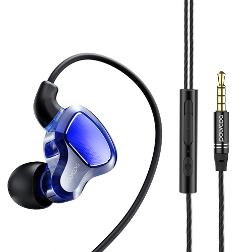 POLVCDG D6T 3.5mm Interface Double Moving Circle In Ear Wired Stereo Earphone for Xiaomi / OPPO / Huawei / Vivo,Upgraded Tuning Version(Sapphire Blue)