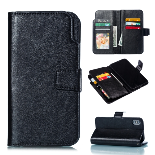 Litchi Texture Horizontal Flip Leather Case for iPhone XS / X, with Nine Card Slots & Wallet & Photo Frame(Black)