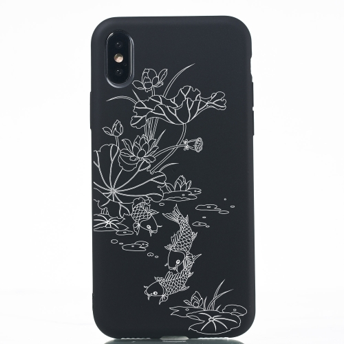 Lotus Pond Painted Pattern Soft TPU Case for iPhone XS / X