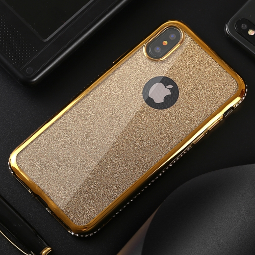 Diamond Border TPU Protective Case for iPhone X / XS (Gold)