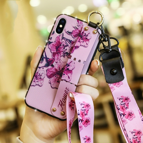 Colorful Painted Shockproof TPU + Cloth Texture Case for iPhone X / XS, with Wristband & Holder & Lanyard (Pink)