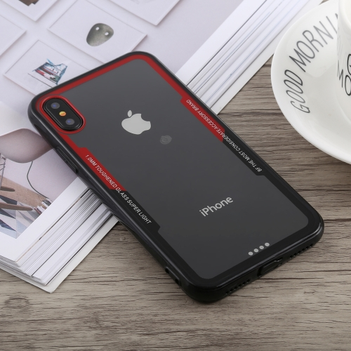 Acrylic + TPU Shockproof Case for iPhone X / XS (Black Red)