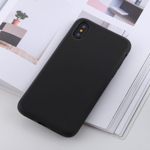 Shockproof Solid Color Liquid Silicone Feel TPU Case for iPhone XS / X (Black)