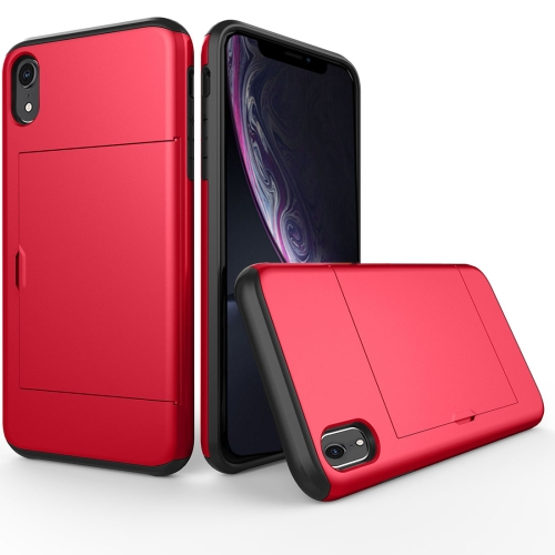 Shockproof Rugged Armor Protective Case for iPhone XR , with Card Slot(Red) фото