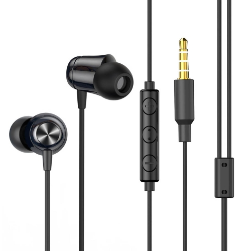 Baseus NGH13-01 3.5mm Plug Wired Eerphone with HD Microphone, Support for Call and Volume Adjustment(Black)
