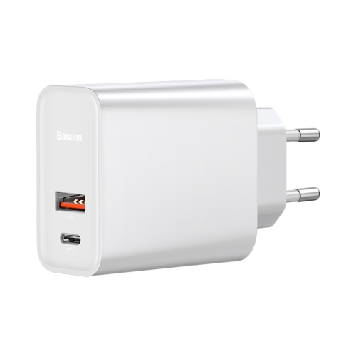 Baseus Speedy Series CW-YMS/FS 30W Type-C / USB-C + USB PPS Quick Charge Charger, EU Plug(White)
