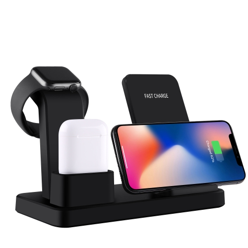 Q12 3 in 1 Quick Wireless Charger for iPhone, Apple Watch, AirPods and other Android Smart Phones(Black)