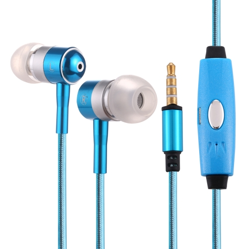 1.1m 3.5mm Plug Universal Stereo Visible EL Flowing Light Earphones with Mic(Blue)