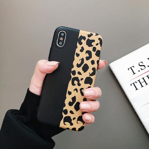 Leopard Pattern Shockproof IMD Scrub Soft TPU Case for iPhone XS / X (Black Yellow)