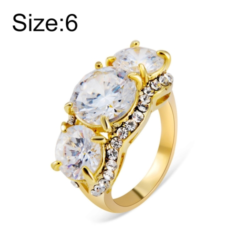 Gold-Plated and Zircon-Embedded Transparent Diamond-Shaped Crystal Ring for Women(Gold with Diamond, US, Size: 6)