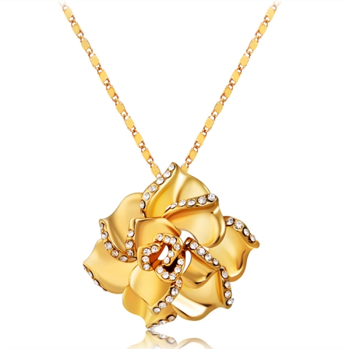 Buy 18K Gold-plated Rose Pendant Necklace for $6.25 in SUNSKY store