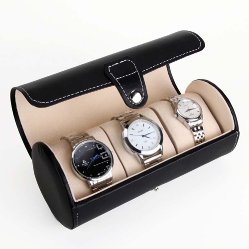 Portable Travel Watch Cylinder Protective Box Storage Bag (Black)