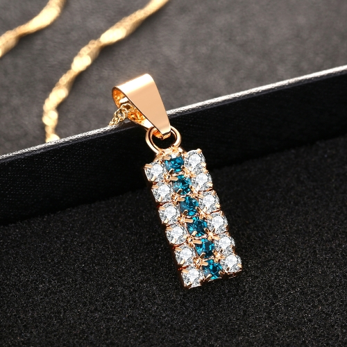 18k Gold Cylindrical Hidden Green And White Crystal Mixed Pendant Necklace For Female(Green)