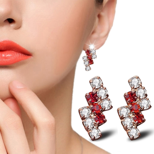 1 Pair Of 18 k Gold Irregular Geometrical Sterling Silver Crystal Stud Earring For Women, 21*9 mm(red)
