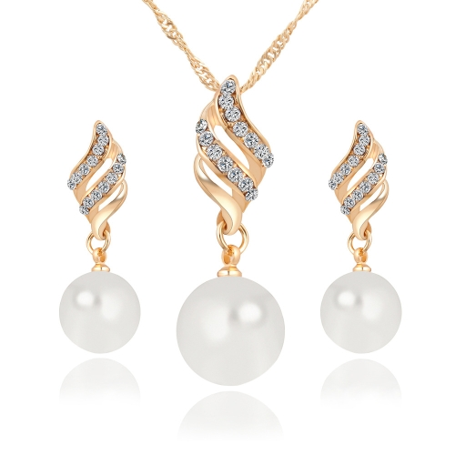 Set Jewelry (1 Pair Earrings and 1 PCS Necklace Included) Chic Pearl and Rhinestone Pendant Necklace and Earings(Gold) chic rhinestone african plate shape pendant necklace and earrings for women