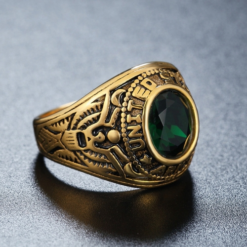 Buy Retro Round Gemstone Carved Soldier Army Military Titanium Steel Ring for Men, US Size: 10, Diameter: 19.9mm, Perimeter: 62.4mm, Green for $4.70 in SUNSKY store