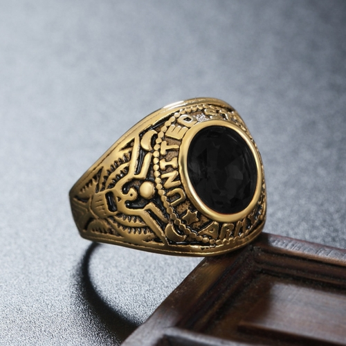 Buy Retro Round Gemstone Carved Soldier Army Military Titanium Steel Ring for Men, US Size: 11, Diameter: 20.7mm, Perimeter: 65mm, Black for $4.70 in SUNSKY store