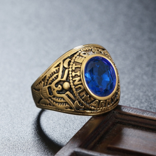 Buy Retro Round Gemstone Carved Soldier Army Military Titanium Steel Ring for Men, US Size: 11, Diameter: 20.7mm, Perimeter: 65mm, Blue for $4.70 in SUNSKY store