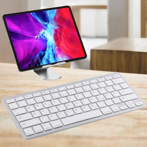 WB-8022 Ultra-thin Wireless Bluetooth Keyboard for iPad, Samsung, Huawei, Xiaomi, Tablet PCs or Smartphones, German Keys(Silver) фото
