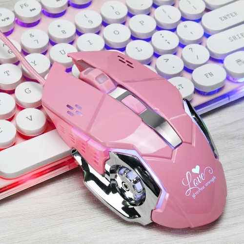 HXSJ X500 Glowing Wired Gaming Mouse 6-Keys 3200 DPI Adjustable Ergonomics Optical Mouse for Desktop PC, Length: 1.4m