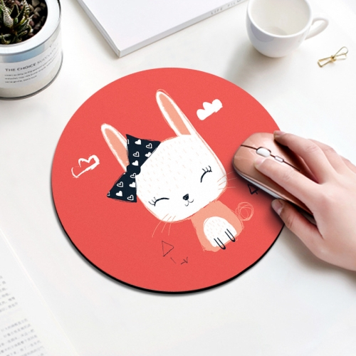 Bow Rabbit Pattern Circular Mouse Pad, Diameter: 22cm