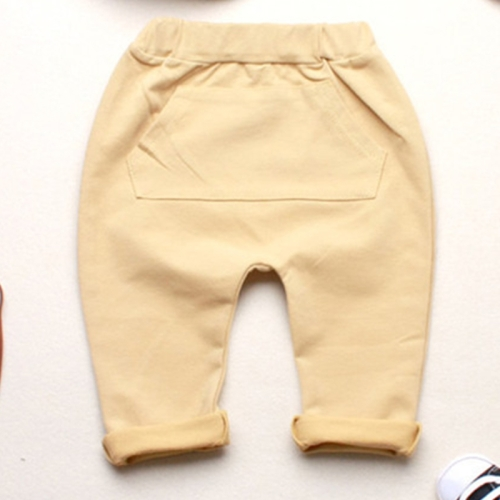 Baby Boys Girls Spring Jogger Cotton Big Patch Pocket Trousers Harem Pants, Size: 80, Yellow