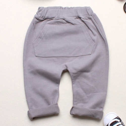 Buy Baby Boys Girls Spring Jogger Cotton Big Patch Pocket Trousers Harem Pants, Size: 110, Gray for $5.08 in SUNSKY store