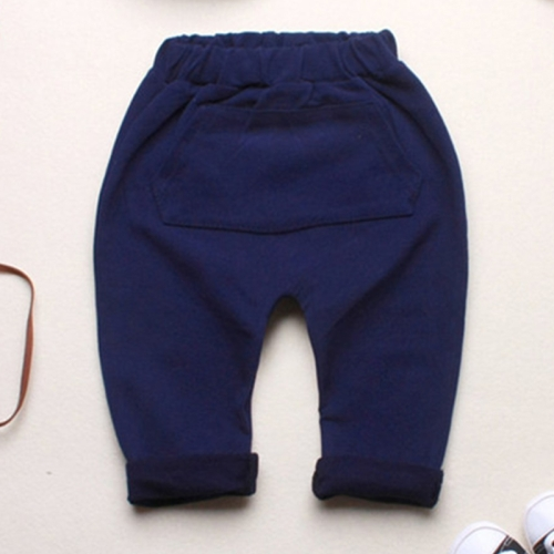 Buy Baby Boys Girls Spring Jogger Cotton Big Patch Pocket Trousers Harem Pants, Size: 110 (Navy Blue) for $5.08 in SUNSKY store