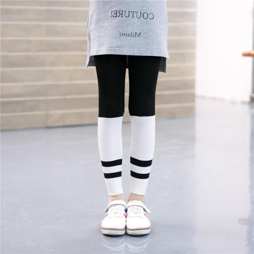 Children Girls Spring Fall Ribbed Capri Pants Striped Stretchy Leggings, Size: M, Black