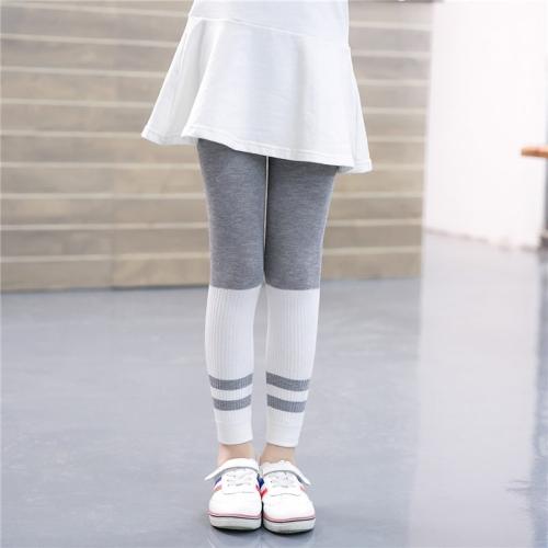 Buy Children Girls Spring Fall Ribbed Capri Pants Striped Stretchy Leggings, Size: L, Gray for $2.79 in SUNSKY store