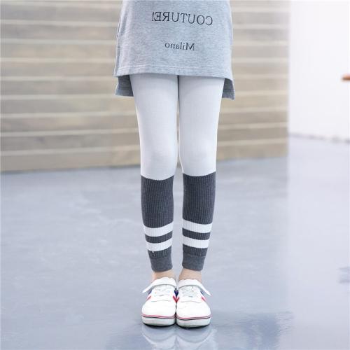 Buy Children Girls Spring Fall Ribbed Capri Pants Striped Stretchy Leggings, Size: L, White for $2.79 in SUNSKY store