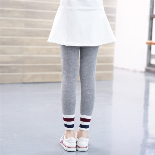 Buy Children Girls Spring Fall Slim Fit Capri Pants Striped Stretchy Leggings, Size: S, Gray for $2.78 in SUNSKY store
