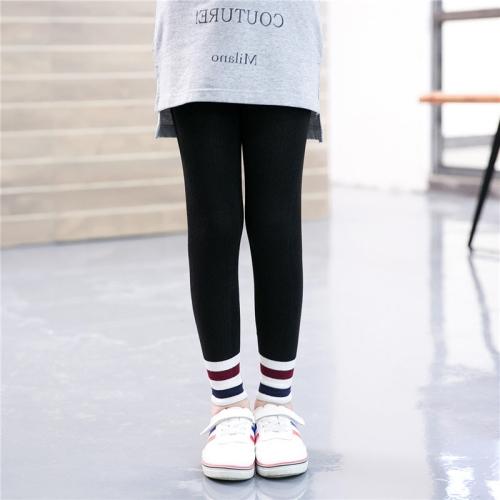 Buy Children Girls Spring Fall Slim Fit Capri Pants Striped Stretchy Leggings, Size: M, Black for $2.78 in SUNSKY store