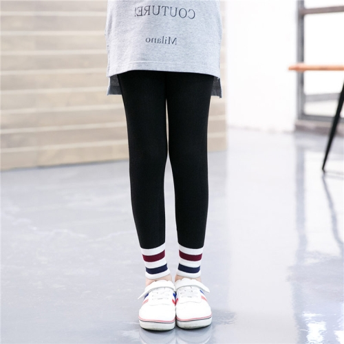 Buy Children Girls Spring Fall Slim Fit Capri Pants Striped Stretchy Leggings, Size: L, Black for $2.78 in SUNSKY store