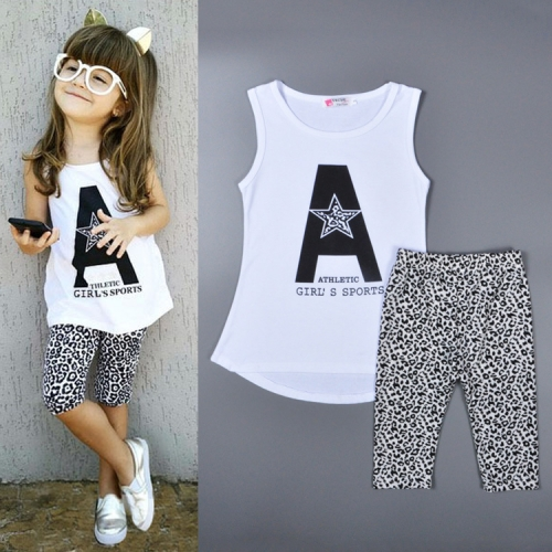 Cotton Sleeveless White T-shirt + Black Dots Shorts Girls Suits, Size: 2