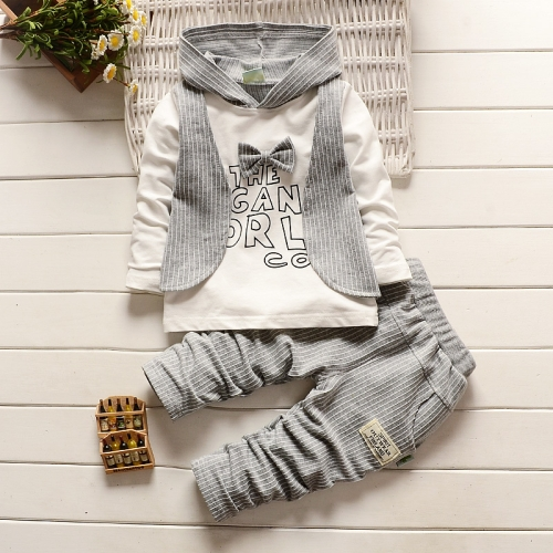 Buy European and American Style Spring and Autumn Fashion Fake Three Piece Stripe Children Clothing with Hat, Vest + Long Sleeve T-shirt + Pants, Size: S, Grey for $7.04 in SUNSKY store