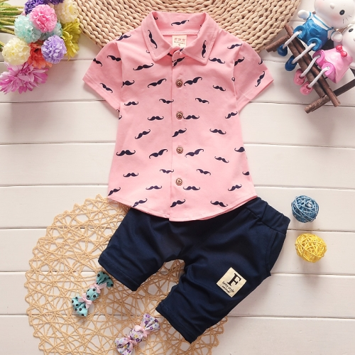 Buy New Arrival Summer Fashion Two Piece Moustache Pattern Children Clothing, Short Sleeve Shirt + Pants, Size: 90, Pink for $5.33 in SUNSKY store