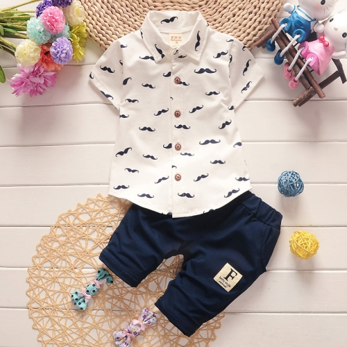 Buy New Arrival Summer Fashion Two Piece Moustache Pattern Children Clothing, Short Sleeve Shirt + Pants, Size: 90, White for $5.33 in SUNSKY store