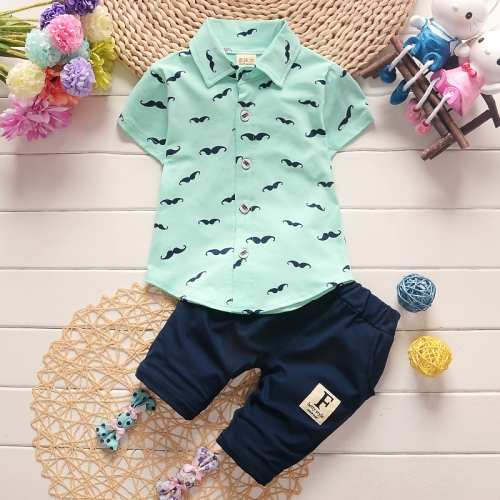 Buy New Arrival Summer Fashion Two Piece Moustache Pattern Children Clothing, Short Sleeve Shirt + Pants, Size: 100 (Light Green) for $5.33 in SUNSKY store