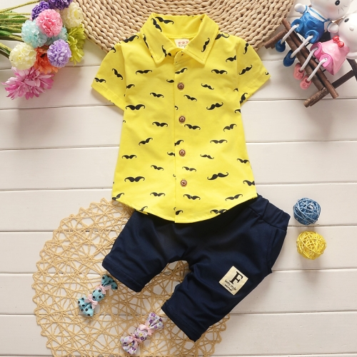 Buy New Arrival Summer Fashion Two Piece Moustache Pattern Children Clothing, Short Sleeve Shirt + Pants, Size: 110, Yellow for $5.33 in SUNSKY store