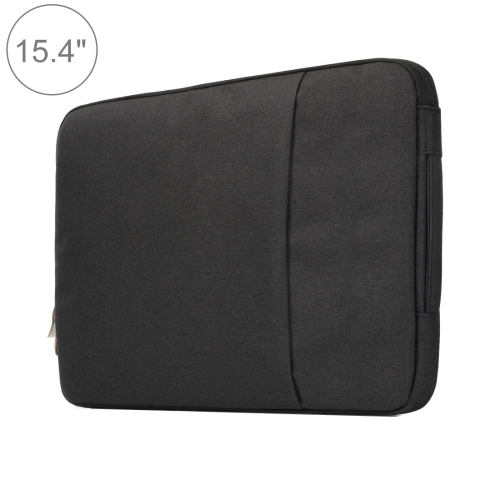 15.4 inch Universal Fashion Soft Laptop Denim Bags Portable Zipper Notebook Laptop Case Pouch for MacBook Air / Pro, Lenovo and other Laptops, Size: 39.2x28.5x2cm(Black)