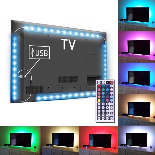 Buy 3W Epoxy IP65 Waterproof 30 LEDs SMD 5050 USB TV Rope Light with 44-keys Remote Controller, Length: 4x50cm, Wide: 10mm (Colorful Light) for $8.29 in SUNSKY store