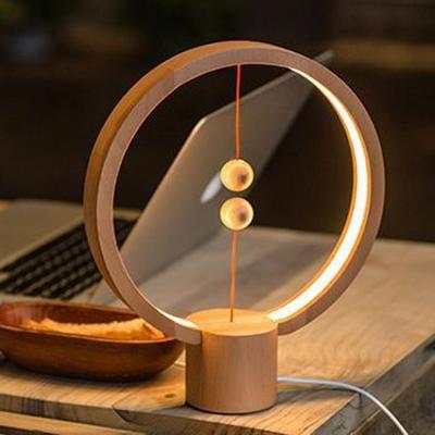 Heng Balance Lamp 5W USB Powered LED Night Light with Magnetic Switch, Beech Wood Round-shaped