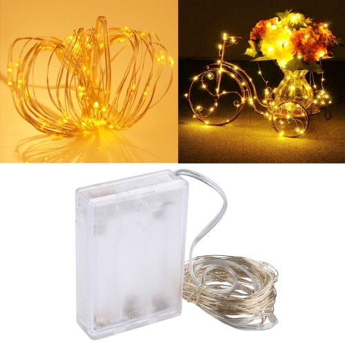 5m IP65 Waterproof Silver Blue Light Wire String Light, 50 LEDs SMD 0603 3 x AA Batteries Box Fairy Lamp Decorative Light, DC 5V