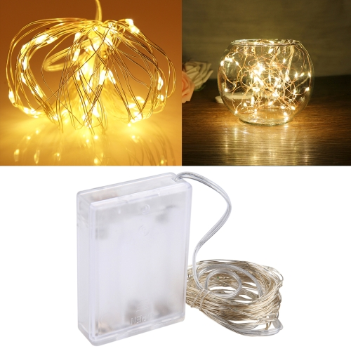 5m IP65 Waterproof Yellow Light Silver Wire String Light , 50 LEDs SMD 0603 3 x AA Batteries Box Fairy Lamp Decorative Light, DC 5V decorative led frosted cherry string light fairy wedding party valentine s day garland waterproof outdoor garden street lamp